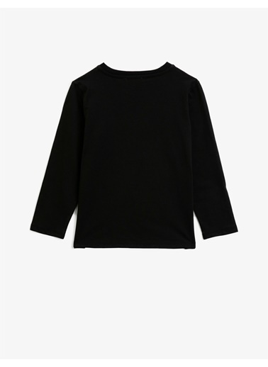 Koton Pamuklu Pullu Bisiklet Yaka Uzun Kollu T-shirt Siyah